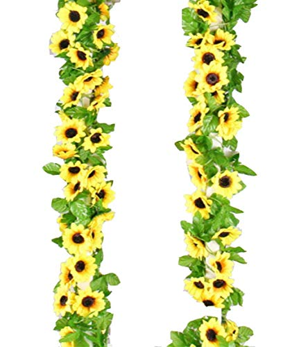 (Yaoijin 2 Pack 16.4 Feet Artificial Fake Sunflower Garland Plants in Yellow(Each 8.2' Long with 12 Vine) for Hanging Wedding Garland Fake Foliage Flowers Home Kitchen Garden Office Wedding Wall Decor)