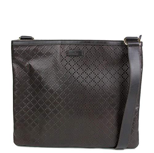 (Gucci Hilary Dark Brown Lux Diamante Leather Messenger Bag 201446 2044)