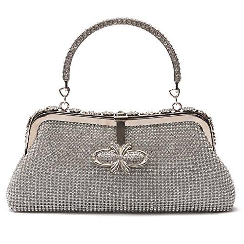 Ali Victory Women Butterfly Crystal Clutch Purse Rhinestone Evening Handbags (Silver) by Ali Victory