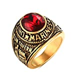 united states army ring - Stainless Steel Gold Plated Tun Taverk Red Stone United States Military Corps Rings for Men,size 9