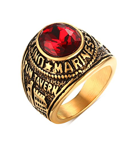 Mealguet Jewelry Stainless Steel Gold Plated Tun Taverk Red Stone United States Military Corps Rings for Men,Size - 10k Gold Army Ring
