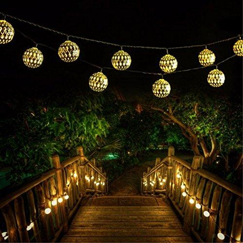 Solar String Light Outdoor Goodia 30 Led Gold Moroccan Import