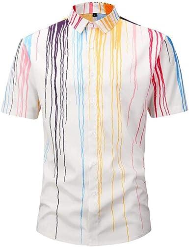 Camisas para Hombres Moda Camisa de Manga Corta con Estampado de Rayas Camisa Hawaiana 2019 Ropa de Verano: Amazon.es: Ropa y accesorios