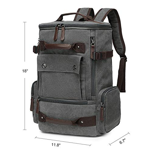 CAMTOP School Backpack Vintage Canvas Laptop Backpacks Men Women Travel Rucksack Bookbags (Grey A)