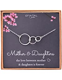 Mom 2 Daughters Necklace, Sterling Silver Three 3 interlocking infinity circles, Mothers Day Jewelry Gift