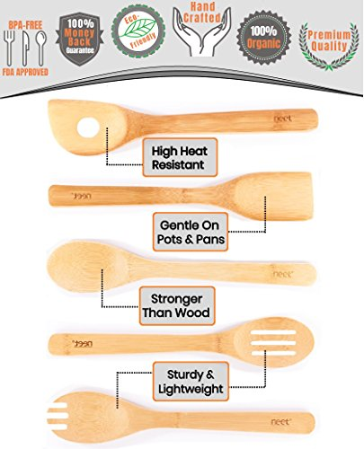 Organic Bamboo Cooking Utensils Set, Unique Elevation Feature, 6 Piece Set, Wooden Spoons Spatula, Kitchen Utensil Set, High Heat Resistant, Wood Serving Spoon, Eco-Friendly & Biodegradable Gift Idea by Neet (Image #4)