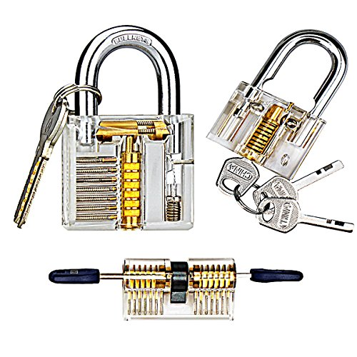 kuject-practice-lock-set-transparent-cutaway-crystal-pin-tumbler-keyed-padlock-lock-picking-practice