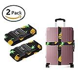 JACINTAN Nylon Luggage Strap with Lock Travel Suitcase Belts (Summer Pineapple)