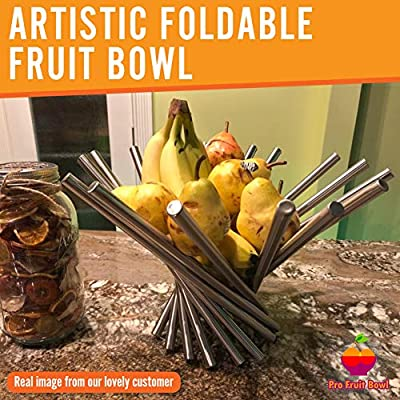 "Foldable Rotation Fruit Basket, Decorative Fruit Bowl with Unique Design and Anti Rust Stainless Steel, 15""x10"" Modern Fruit Stand Storage Kitchen for Orange Banana Apple Grapes, Wrench Included"
