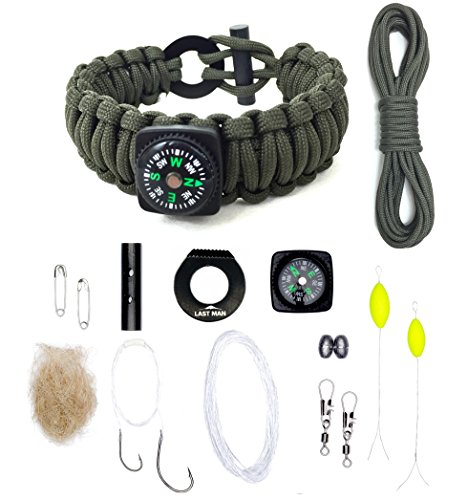The Ultimate Paracord Survival Kit Bracelet by LAST MAN Survival Gear (Army Green With Compass) (Knife Buckle Belt)