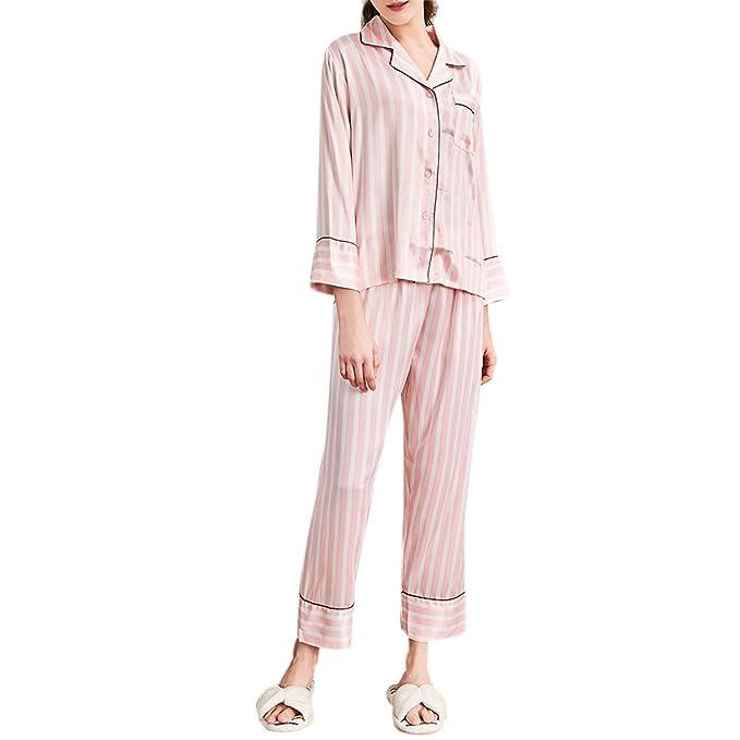 Zhuhaitf De las mujeres pijamas de satén Conjunto Ropa de dormir prendas de dormir con bolsillo