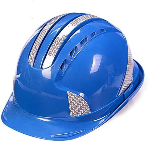 Yan Xiao Yu 安全ヘルメットサイト建設反射ストリップ電源建設エンジニアリングヘルメット通気性キャップ (Color : Blue, Size : One size)