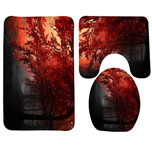 Wondertify Bath Mat,Landscapes,Forests Autumn Red Misty Forest Leaves Fall Woods Bathroom Carpet Rug,Non-Slip 3 Piece Bathroom Mat Set