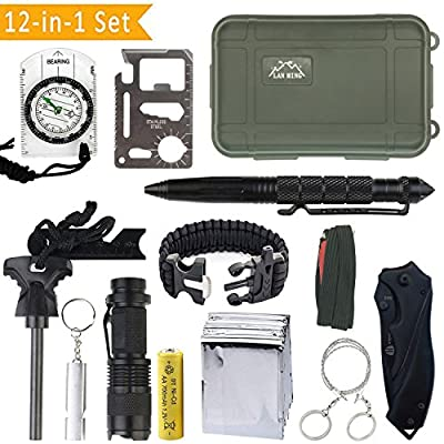 KaiLan Emergency Survival Gear Kit 12 in 1 ,Outdoor Survival Tool with Fire Starter Paracord Bracelet Whistle Survival Blanket Wire saw Compass Survival Knife Flashlight Tactical Pen etc by LANMING