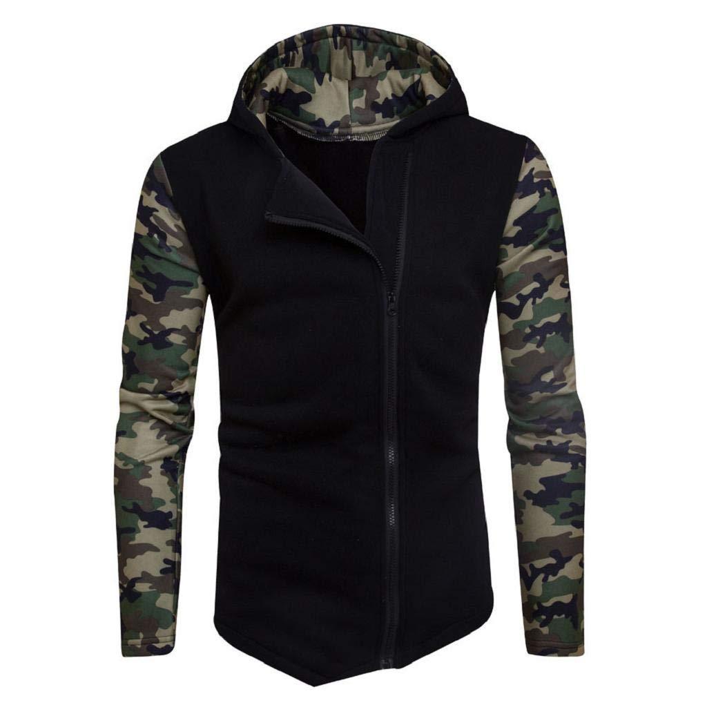 REYO Men's Jacket Winter Camouflage Zipper Hoodie Hooded Sweatshirt Coat Jacket Outwear
