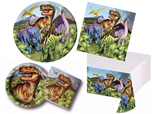 Dino Dinosaur Deluxe Birthday Party Supplies Kit Including Small & Large Plates, Napkins & Table Cover for 20 (Walmart Dinosaur Toys)