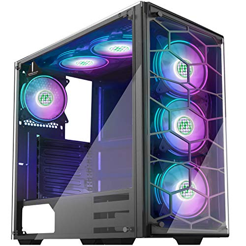 MUSETEX Phantom Black ATX Mid Tower Desktop Computer Gaming Case USB 3.0 Ports Tempered Glass Windows with 120mm LED RGB Fans Pre-Installed (907D6)