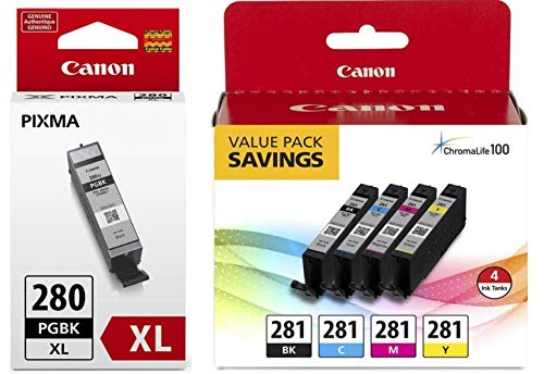 Canon CLI-281 BKCMY 4-Color Ink Tank Value Pack (2091C005) + Canon PGI-280 XL Pigment Black Ink Tank (2021C001) ()