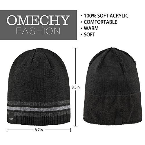 c1632ebfafe OMECHY Mens Winter Beanie Hat Warm Cuff Toboggan Knit Ski Skull Cap