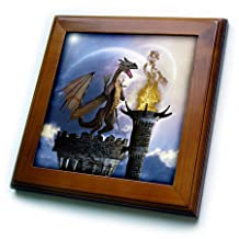 ft_172925_1 Simone Gatterwe Designs Fantasy - A dragon guard a castle in the night a torch fire light up the castle - Framed Tiles - 8x8 Framed Tile