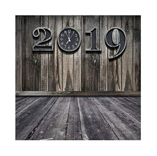 Laeacco Vinyl 7x7ft Grunge Retro New Year 2019 Photography Background Grunge Old Moldy Dirty Wooden Wall Clock Dial Countdown Shabby Wood Texture Floor Backdrops Artistic Photo Studio Props