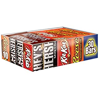 HERSHEY's Variety Pack, Milk Chocolate, Milk Chocolate with Almond Bars, (HERSHEY'S, KIT KAT, REESE'S) Full Size Gift Pack, 30 Count