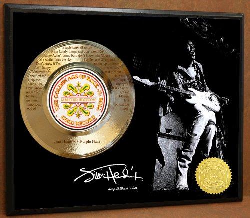 G.A.R.R. Jimi Hendrix Purple Haze Limited Edition Gold Record Laser Etched Lyrics Poster Art Music Memorabilia Display
