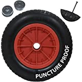 "Garden mile® New 14"" Red PU Puncture Proof Wheelbarrow Wheel Tyre Solid Lightweight Foam 3.50 - 8 NOT FOR HIGHWAY USE"