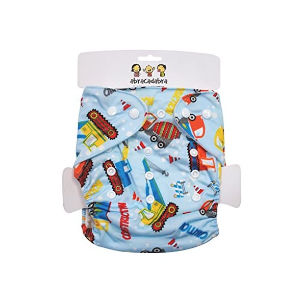 Abracadabra Adjustable,Washable Printed Reusable Diaper with Insert/Liner- Construction for Newborn Baby