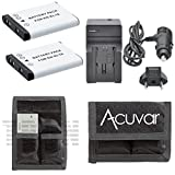 2 EN-EL19 High-Capacity Batteries + Car / Home Charger + Acuvar Battery Pouch for Nikon Coolpix S4100, S4150, S4200, S4300, S5200, S6400, S6500, S6600, S02, S32, S3600, S5300 and Other Models