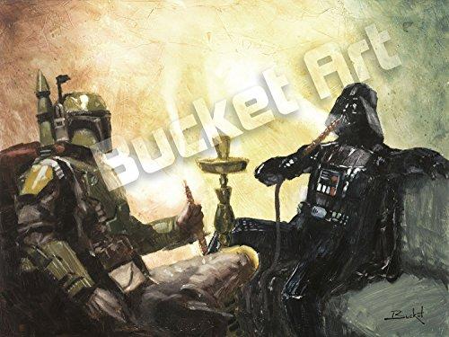 Darth Vader Helmet Art (Bucket Chillin' by Artist Star Wars Darth Vader and Boba Fett Hookah Parody - 9