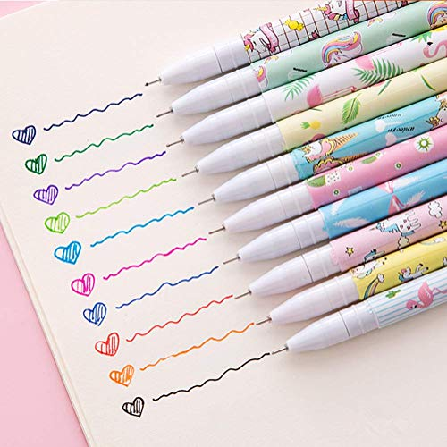 Cute Color Pens for Women Toshine Colorful Gel Ink Pen Set Unicorn Flamingo Pens Multicolor Gel Ink Roller Ball Pens for Kids Girls Children Students Teens Gifts 10 Pcs (0.5 mm)