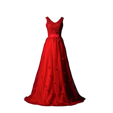 V Neck Floral Lace Appliques Tulle Long Prom Evening Dresses with Sash Red US