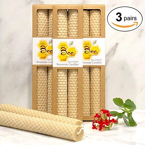 Votive Taper - 8 Inch Hand-Rolled Beeswax Taper Candles (3 Pair) - Little Bee of CT, Martha Stewart American Made