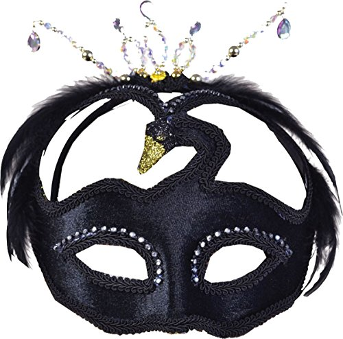 Halloween Fancy Black Jewelled Swan Beta Masquerade Disguise Headband Eyemask ()