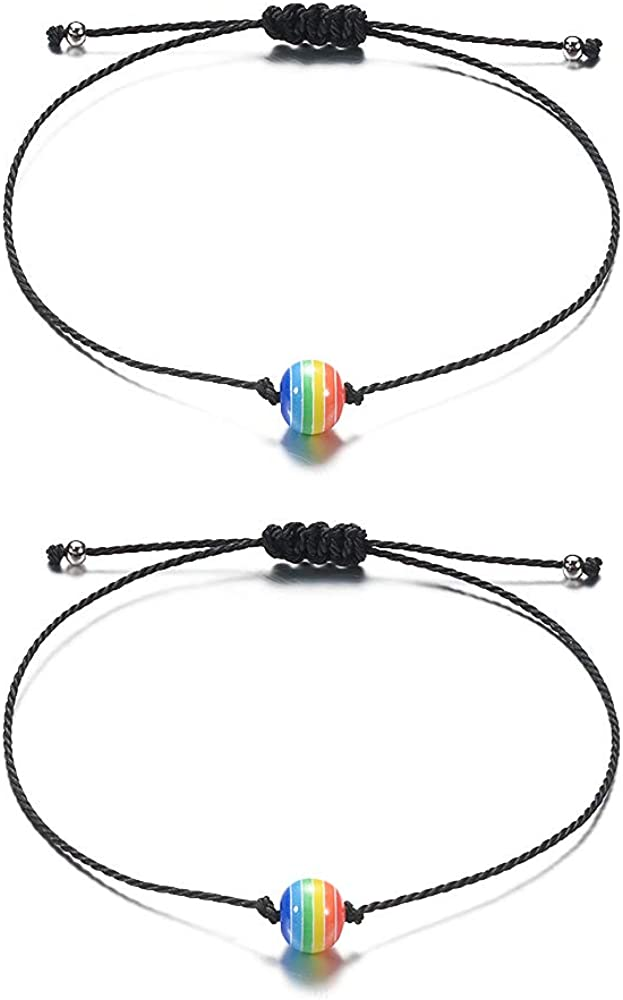 Rainbow Gay Pride LGBT Matching Distance Bracelet Couples Relationship Friendship Beads Adjustable Bracelets Jewelry for Women Men 2PCS