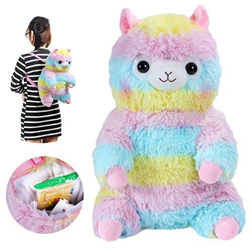 Alpacasso 3D Cute Plush Animal Backpack Rainbow Alpaca Llama Bag Stuffed Animal Doll Toddler Backpack Children Schoolbag . (Rainbow) ()