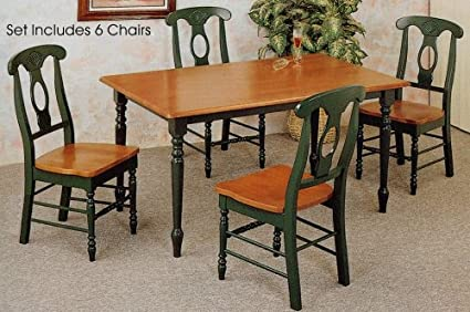 Amazon.com: 7pc Oak & Green Farm House Dining Room Table ...