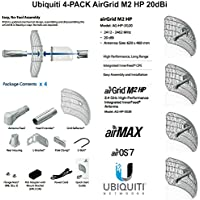 Ubiquiti Airmax 4-PACK AirGrid M2 HP 20dBi 2.4GHz CPE 100+Mbps 30km+ 17x24
