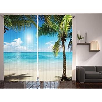 amazoncom tropical beach decor curtains by ambesonne