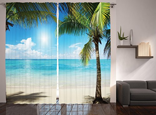 Ambesonne Tropical Beach Curtains, Coconut Palm Trees Shadows on Caribbean Shore Summer Plants Idyllic, Living Room Bedroom Window Drapes 2 Panel Set, 108 W X 84 L Inches, Coconut -
