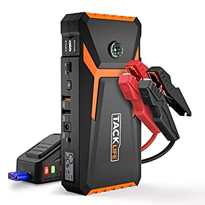 Tacklife T8 Car Jump Starter - 800A Peak 18000mAh, 12V Auto Battery Booster (up to 6.5L gas, 5.5L diesel engine), Portable Power Pack with Smart Jumper Cables, Dual Charging Ports, Storage Case