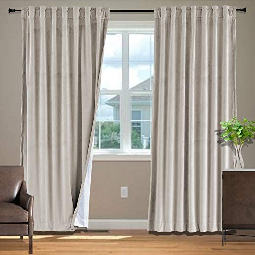 Frelement Back Tab Rod Pocket Noise Reduction Velvet Curtain