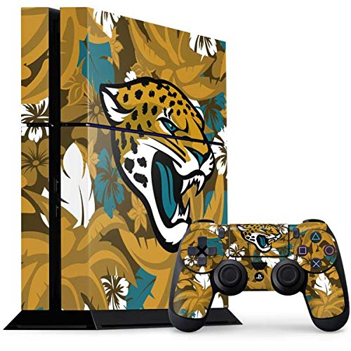 Skinit NFL Jacksonville Jaguars PS4 Console and Controller Bundle Skin - Jacksonville Jaguars Tropical Print Design - Ultra Thin, Lightweight Vinyl Decal Protection
