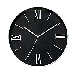 Foxtop 12 Inch Silent Non Ticking Concise Wall Clock with Roman Numerals / Black Dial and White Frame Battery Operated