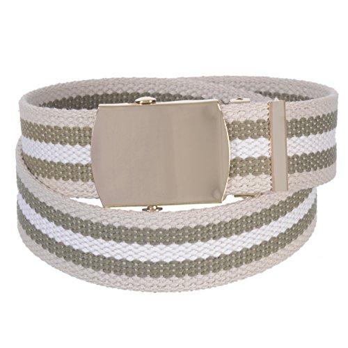 Sunny Belt Unisex Kids 1 ¼ Inch Wide Cut To Fit Canvas Web Belt Gold Buckle -
