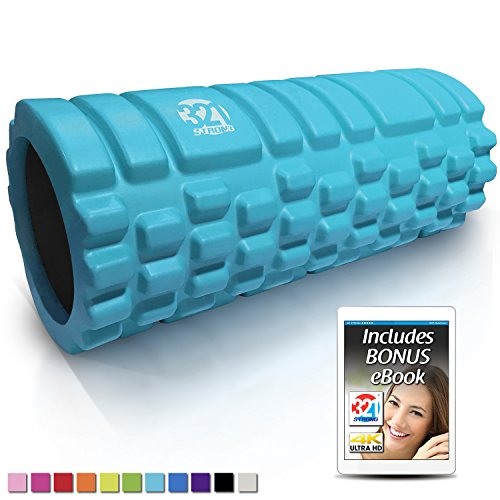 321 STRONG 758576546933ALIFFBA Foam Roller, Medium Density Deep Tissue Massager for Muscle Massage and Myofascial Trigger Point Release, with 4K eBook, Aqua