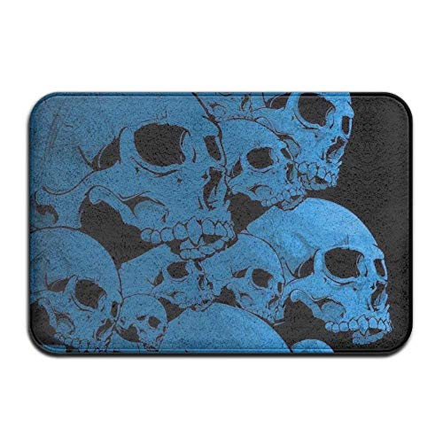 Smart Dry Memory Foam Bath Kitchen Mat for Bathroom - Cool Blue Skull Black Shower Spa Rug 18x36 Door Mats Home Decor with Non Slip Backing - 3 - Winter Braided Rug Blues