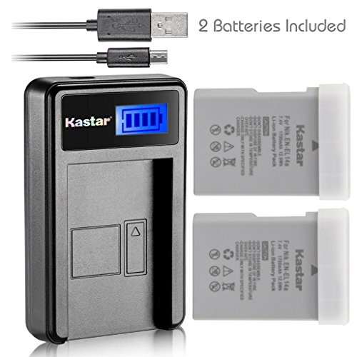 Kastar Battery (X2) & LCD Slim USB Charger for Nikon EN-EL14a, EN-EL14, ENEL14A, ENEL14 & Nikon Coolpix P7000 P7100 P7700 P7800, D3100, D3200, D3300, D3400, D5100, D5200, D5300 DSLR, Df DSLR, D5600 by Kastar