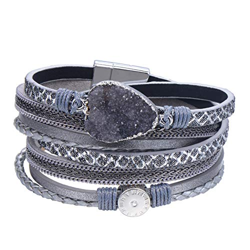 AZORA Leather Wrap Bracelet for Women Multi Layer Druzy Stone Cuff Bracelets with Magnet Clasp Gift for Girls - Gray